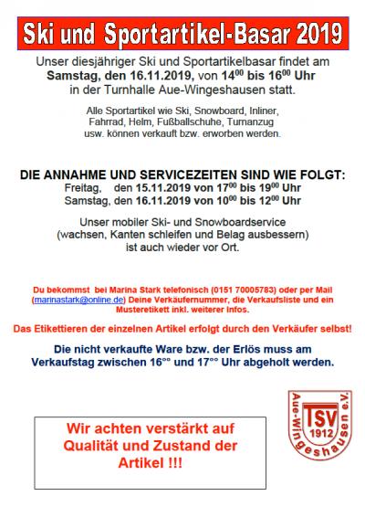 TSV Aue Wingeshausen Ski und Sportartikelbasar 2019
